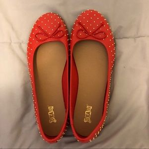 NWOT- Red Flats w/ Gold Studs